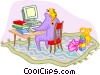 Vector Clip Art image  of a working at home with children