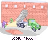 Vector Clip Art image  of a building a wall