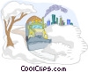 Vector Clip Art image  of a plowing snow after a storm