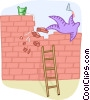Vector Clip Art graphic  of a overcoming an obstacle