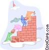 Vector Clip Art graphic  of a building a wall