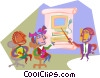 education, teacher with students Vector Clipart picture