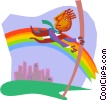 Vector Clip Art graphic  of a jumping over a rainbow