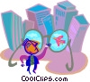 Vector Clipart graphic  of a corporate versus environmental
