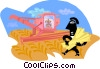 harvesting grain Vector Clip Art graphic