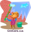 man painting over a brick wall Vector Clip Art graphic