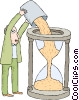 man pouring sand into an hourglass Vector Clipart picture