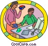 Vector Clipart graphic  of a worker loading software on computer