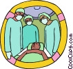 Vector Clip Art picture  of a physicians with patient