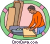 Vector Clipart image  of a carpenter working with wood
