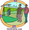 two men discussing a construction project Vector Clipart picture