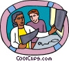 healthcare, medical, doctor examining Vector Clip Art graphic