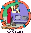 Industry, auto mechanic working on a car Vector Clip Art graphic