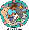 Vector Clipart graphic  of a working on school assignments