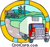 transportation, industry transport truck Vector Clipart illustration