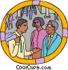 office workers chatting in the lobby of a building Vector Clip Art image