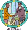 Vector Clipart graphic  of a confirming a deal with a