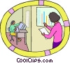 office worker checking sales charts Vector Clipart illustration