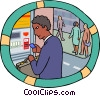 man at an ATM machine withdrawing cash Vector Clipart graphic