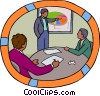man presenting data to co-workers Vector Clip Art graphic