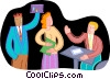 office workers celebrating Vector Clip Art image