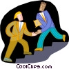 Vector Clip Art graphic  of a men passing on a stairway