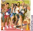 Athletes running, sports Vector Clipart illustration