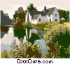 Vector Clip Art graphic  of a landscape with house and river