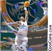 Vector Clipart graphic  of a Basketball player going for