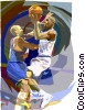 Basketball player going for lay up Vector Clipart illustration