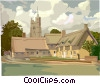 Vector Clipart image  of a English country church