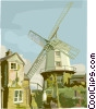 windmills, Netherlands landscape Vector Clipart graphic