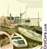 Vector Clipart graphic  of a fishing village