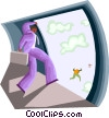 Vector Clip Art image  of a businessmen jumping from a