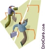 businessmen racing the hurdles Vector Clipart picture