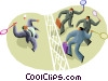Vector Clip Art image  of a badminton game three against