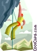 Vector Clipart picture  of a rope climbing in the mountains