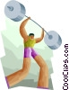 sports, weight lifter lifting the barbell Vector Clipart illustration