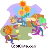Vector Clipart graphic  of a summer picnic