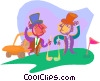 Vector Clipart image  of a friendly game of golf