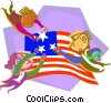 Vector Clip Art image  of a flying the stars and stripes