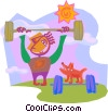 Vector Clip Art image  of a weight lifter