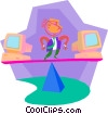 business metaphors, balancing technology Vector Clipart image