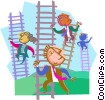 business metaphors, climbing ladders Vector Clip Art picture