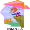 business metaphors, hang gliding Vector Clipart graphic