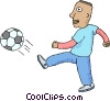 Vector Clip Art image  of a Soccer player kicking ball