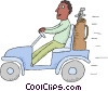 Vector Clipart graphic  of a golf cart