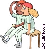 Baseball players on the bench Vector Clipart graphic