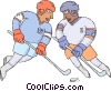 Hockey players fighting for the puck Vector Clip Art image