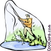 Vector Clip Art image  of a fishing
